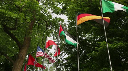 společenství : Flags of different countries in the park of the European city of Germany, against the background of trees. Flags of the of Turkey, Tunisia, United States of America, USA, Poland, Jordan, Nigeria,
