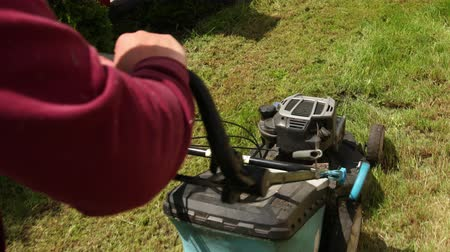 cutting open : person gardener mows green grass, holding in the courageous hands of a gasoline lawn mower, afternoon, in Sunny weather, in the summer, backyard, in the garden, close-up Stock Footage