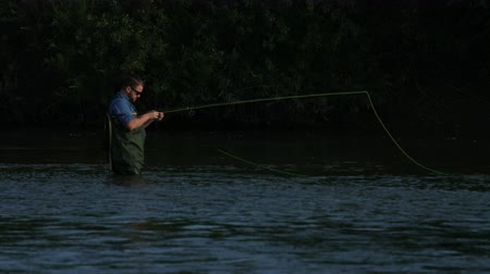 truta : angling, a man in special clothes, wearing glasses, holding a fishing rod in his hands, a male fishing on the river, standing in the water, a small current, the nature is beautiful, summer day Stock Footage