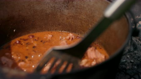 seethe : in large cast iron pot preparing dish, red with meat onions and other components