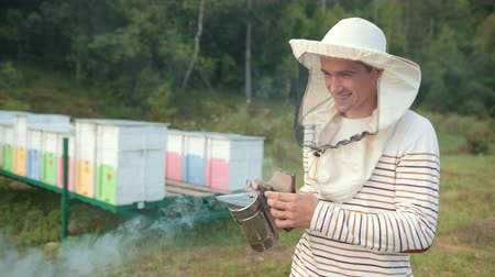 worker bees : man beekeeper in special clothes, holding a smoker to calm bees, a lot of smoke Stock Footage