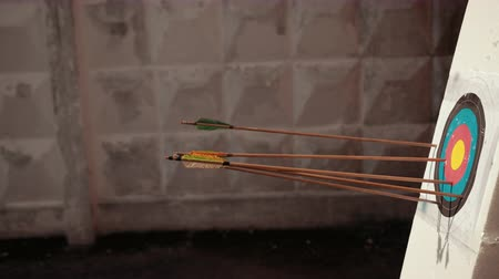 excelência : archery. wooden arrows with colored end fly into white foam on which target hangs, in background wall, close-up, slow motion