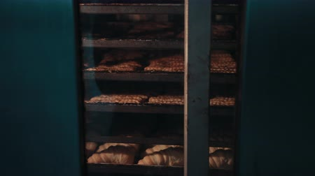 fornada : Shelvings with different types of pastry are moving inside hot bakehouse oven. Pastry is baked, lying on trays behind glass door, while turning of rack.