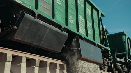 train workers : The train is on its destination and its time to drop the product. The train had very smooth and calm journey and now its on its desired destination. Stock Footage