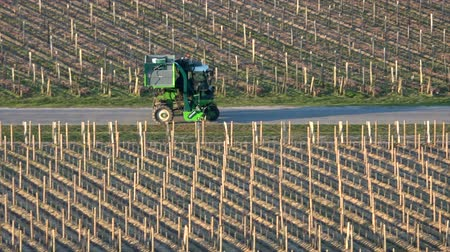 Agricultural machine in the vineyards Landscape Bordeaux