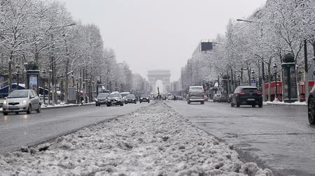 sokak lâmbası direği : The arc de triumph by a rare snowy day in Paris, France