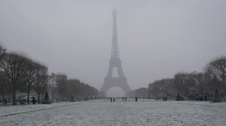 Snowy day in Paris, France
