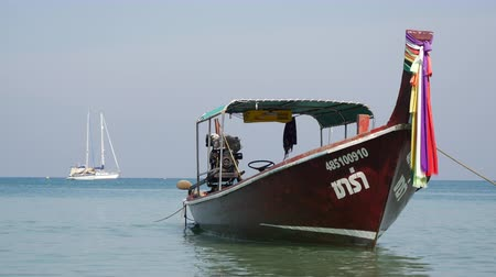 Traditional thai longtail boat at famous Long Beach, Thailand