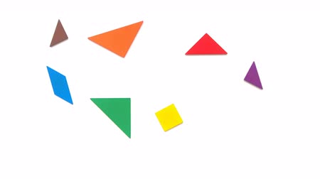bird learning : tangram shaped like different shape of birds on white