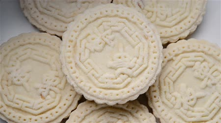 somma : Chinese traditional Stir-fired biscuit rotating the Chinese words on top means Chinese chestnut