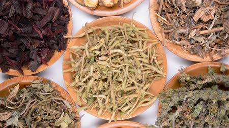 harmanlanmış : top view of several kind of Chinese herb medicines with rotation