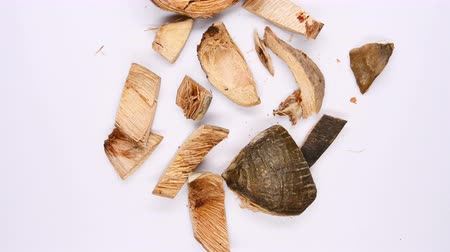 therapeutic : top view herb medicine DaFuPi or Arecae Pericarpium or Areca Peel rotate and pause