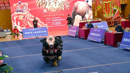 Zhongshan,China-November 29, 2019:people performing in a Lion Dance match. Stock mozgókép