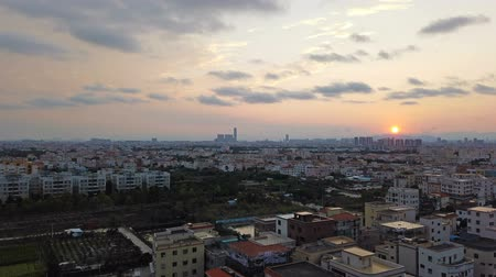 time lapse of a residential area in a Chinese suburb in sunset time