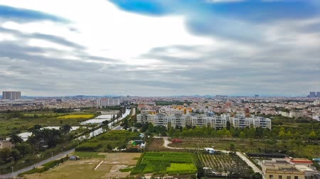 time lapse of small Chinese town in a cloudy day Stock mozgókép