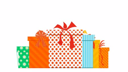 feriados : Growing boxes with gifts, colorful package with bows. holiday symbol and the pre-holiday trade. Full HD