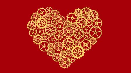 interlock : Heart with gears Isolated on red background. Full HD