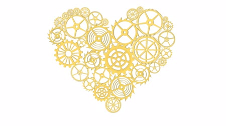interlock : Golden Heart with gears Isolated on white background. Full HD