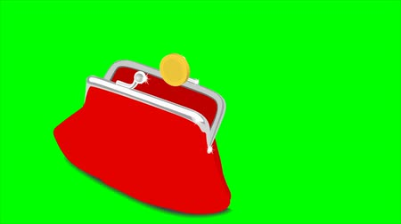 lucrative : Gold coins flying in red purse on a green background