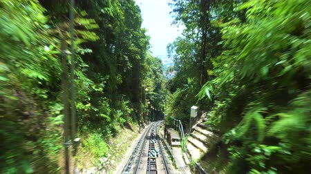 malásia : Ride on cable car road on Penang hill, Georgetown, Malaysia. View from inside.