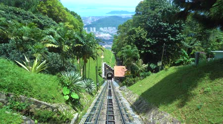 georgetown : Ride on cable car road on Penang hill, Georgetown, Malaysia. View from inside.