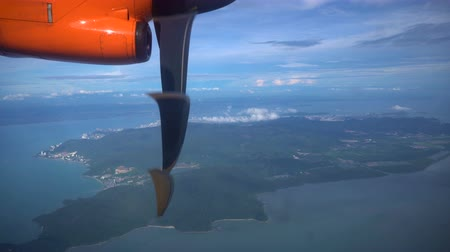 Fliyng above Penang island, Malaysia. View from airplane window
