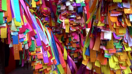 Colorful religious ribbon in Buddhist temple
