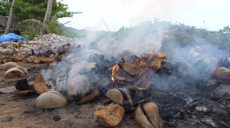 Coconut shell burning