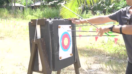 Archer removing arrows from target