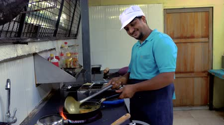 frying : Indian chef preparing food Stock Footage