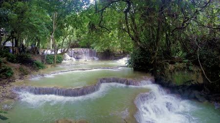 ラオス : Cascades of Kuang Si Waterfall in Laos 動画素材