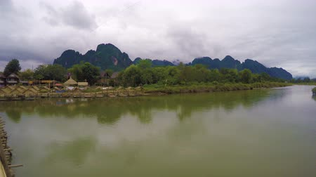 ラオス : Panoramic view of Vang Vieng River 動画素材
