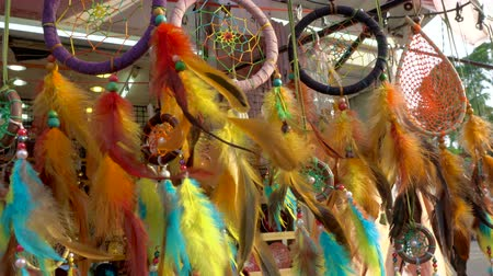 pluma : Dream Cathers Hanging at Market Stall Stock Footage