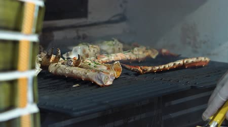 Red crab grill closeup of delicious grilled seafood. A large stone oven