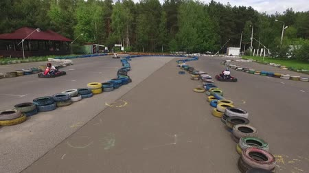 People have fun. Race Track For Kart Racing. Shooting with the drone