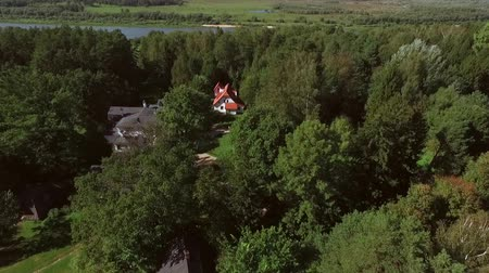 dacha : Shooting from a helicopter, the suburban real estate. Cottage village in the forest 4K