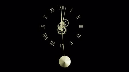 полночь : Pendulum clock with visible gear Стоковые видеозаписи