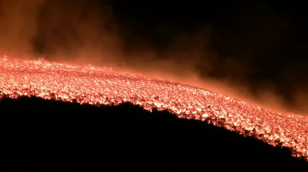 lave : Vocano Etna Lava flow, Italy Stock Footage