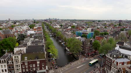 Amsterdam city from the top. General view from hight point at day time. HD Footage. Стоковые видеозаписи