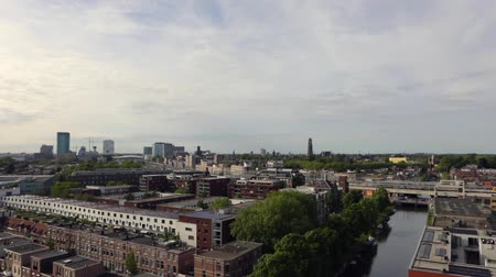 Utrecht city from top. General view from hight point at summer evening. Стоковые видеозаписи