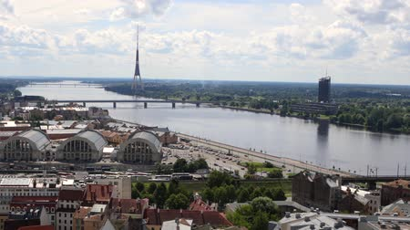 라트비아 : Old European city of Riga view from the top. HD Footage.