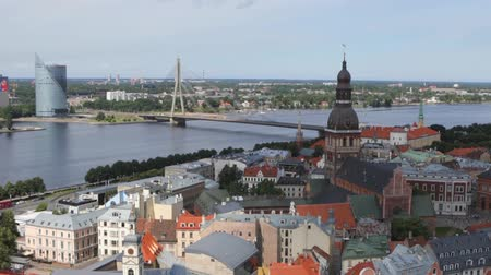 riga : Old European city of Riga view from the top. HD Footage.