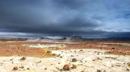 geyser iceland : Icelandic geyser vapors and picturesque nature with moving tourist. HD Footage.