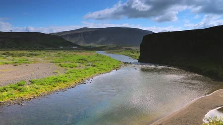 nordic countries : Picturesque landscape of a mountain river with traditional nature of Iceland. HD Footage.