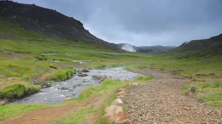 nordic countries : Picturesque landscape of a mountain river with traditional nature of Iceland. Slow Motion Footage.