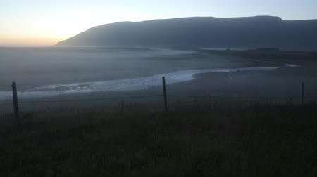 geotermální : Scenic Icelandic morning landscape with mystical haze. Slow Motion Footage.