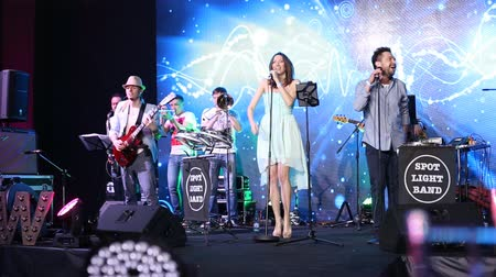music band stage : The band plays live on stage