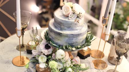 tiered : Tilt up of a beautiful wedding cake.