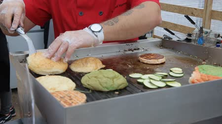 hickory : Juicy Hamburgers Cooking on BBQ Grill