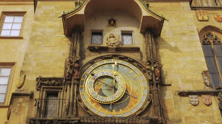 namesti : Ultra close-up detail shot of the famous Astronomical Clock in the Old Town Square of Prague, Czech RepublicCzechia. Stock Footage